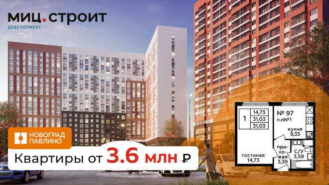 ЖК «Новоград Павлино». От 3,6 млн рублей МО, город Балашиха,
